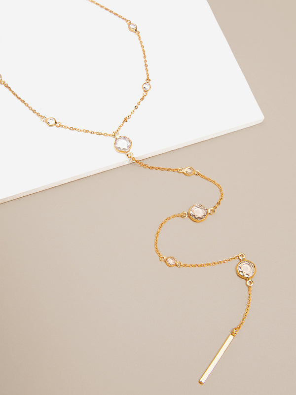 Crystal Drops Y- Necklace