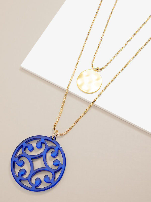 Circle Scroll and Coin Layered Necklace