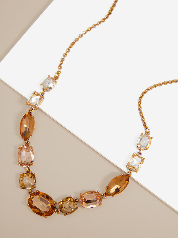 Amber Crystals Collar Necklace