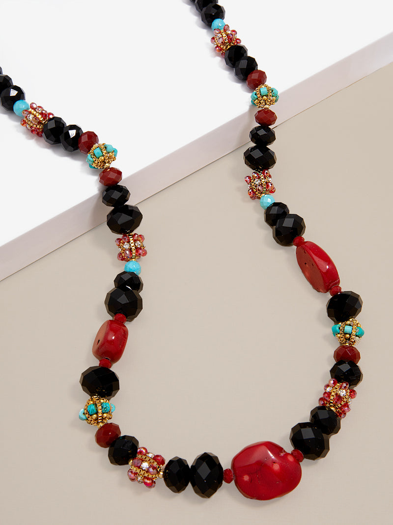 Lucy Hand-Beaded Long Necklace