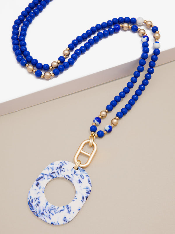 Blue Marbled Acetate Pendant Necklace