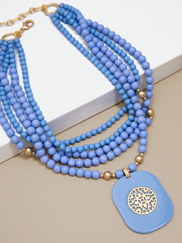 Heather Layered Beaded Collar Pendant Necklace