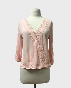 Crochet Trim Crossover Blouse