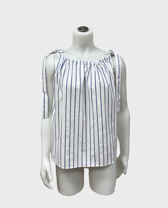 Cotton Stripe Top with Ties