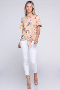 Ruffle Sleeve Front Tie Soft Top