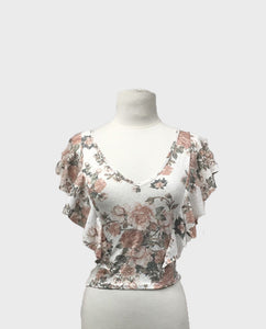 Vintage Rose Flutter Sleeve Top