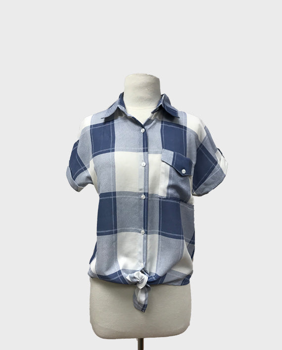 S/S Summer Plaid Tie Top