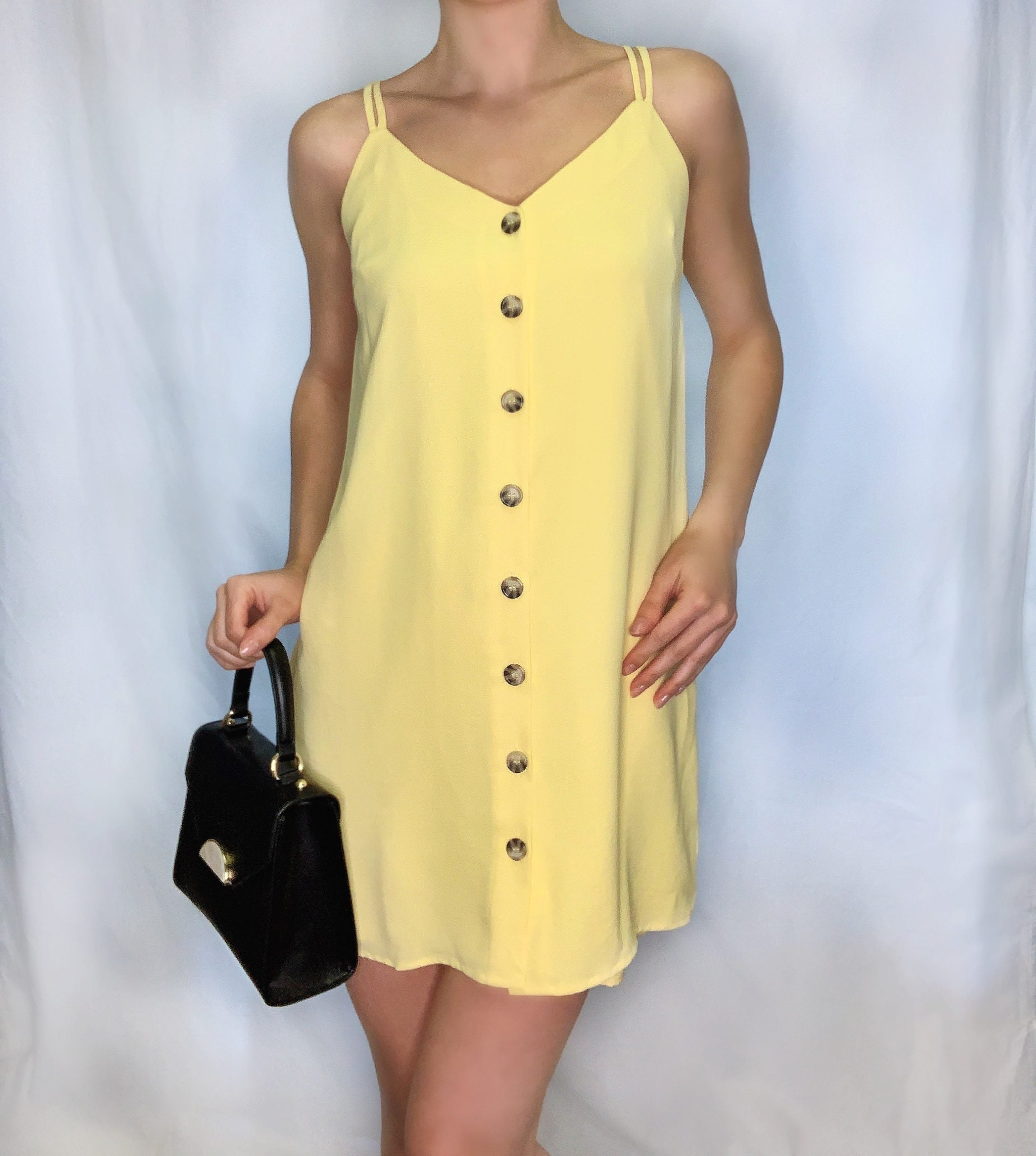 Double Spaghetti Strap Dress w/ Horn Button