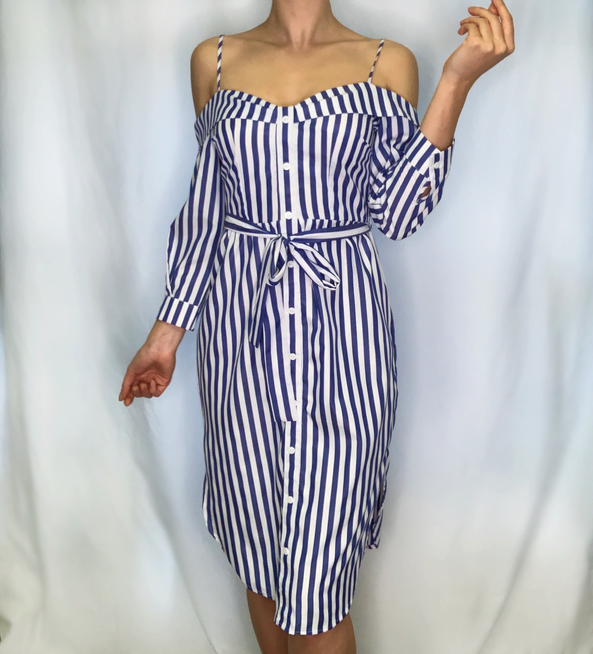 Off Shoulder Stripe Dress