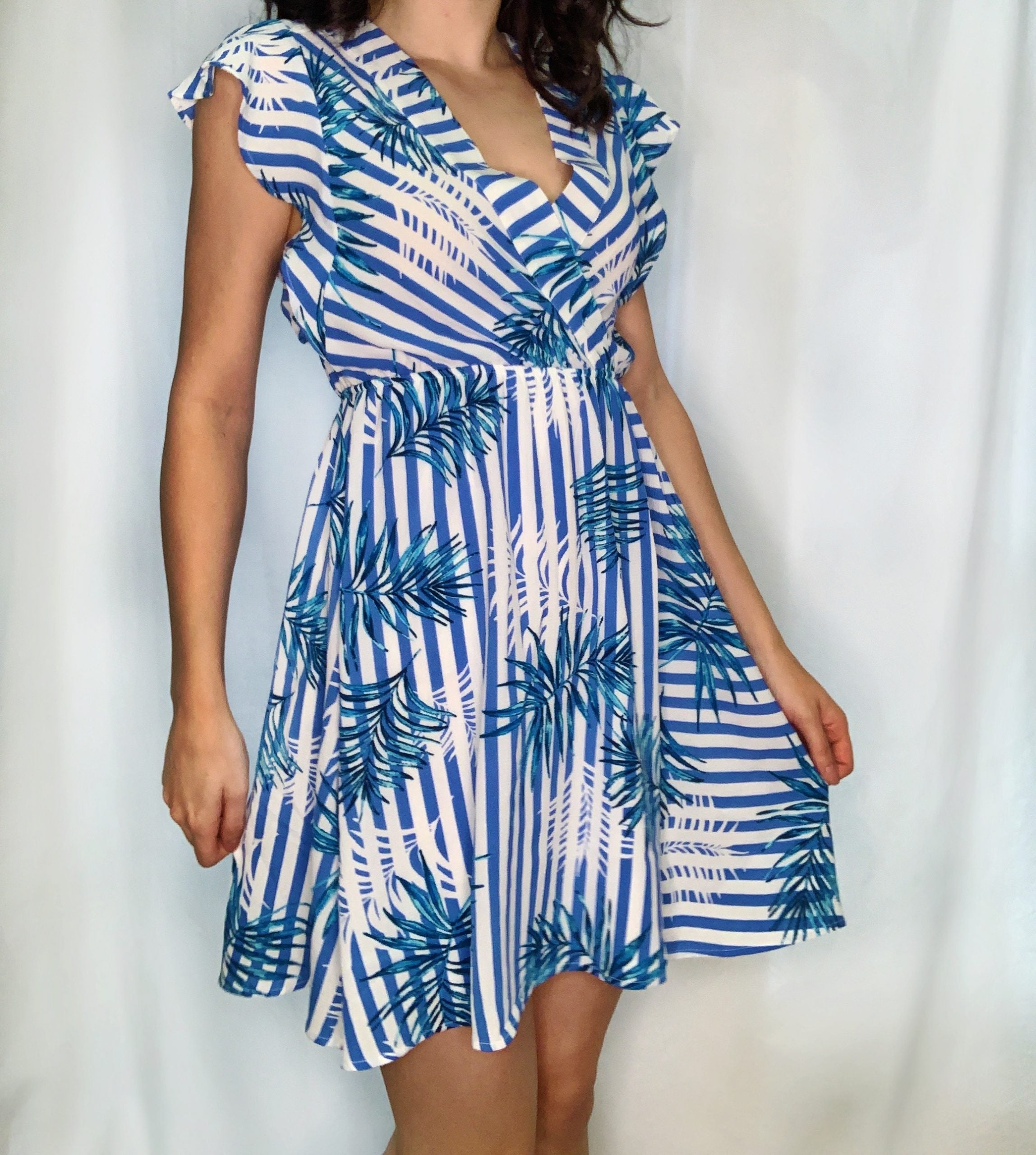 Tropical Surplice Dress