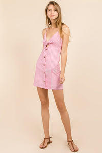 Red Stripe Front Tie Dress