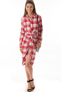 Checkered Twisted Front Dress