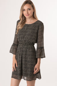 Polka Dot Chiffon 3/4 Sleeve Dress