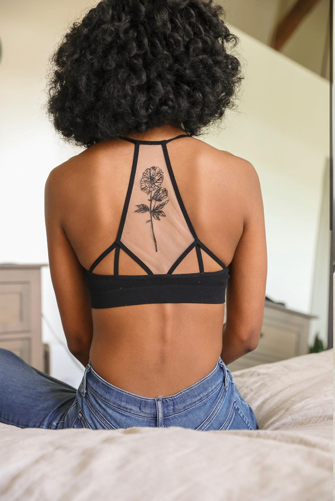 Flower Bloom Tattoo Mesh Bralette