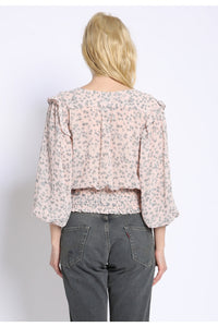 Floral Ruffle Smocked Top