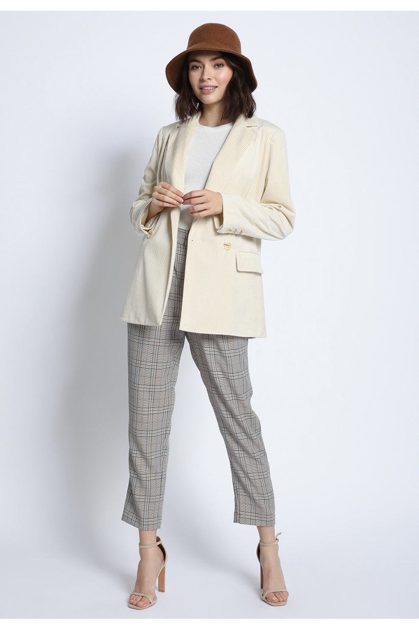 BUY 1 GET 1 15% :Double Breasted Classic Corduroy Blazer