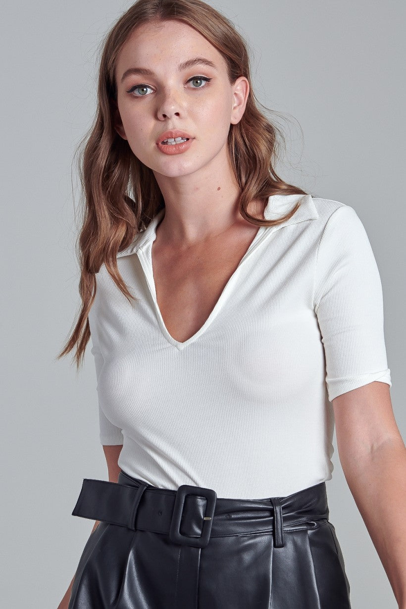 Collared V-Neck Bodysuit