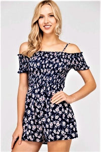 FLORAL COLD SHOULDER ROMPER $24/each