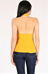 RIBBED OPEN BACK HALTER TOP
