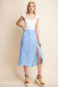 Blue Floral Slit Midi Skirt $32/each