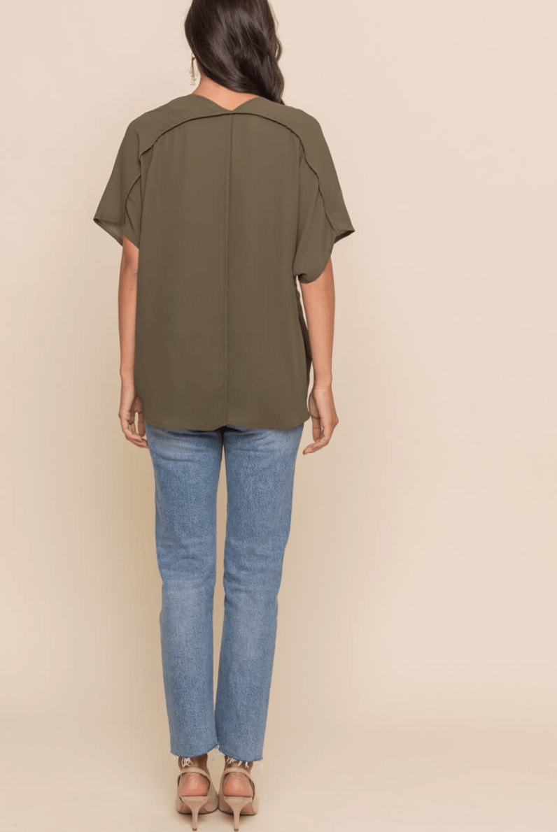 S/S V Neck Blouse
