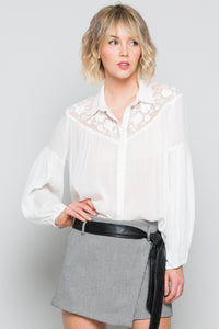 White Embroidery Dressy Blouse