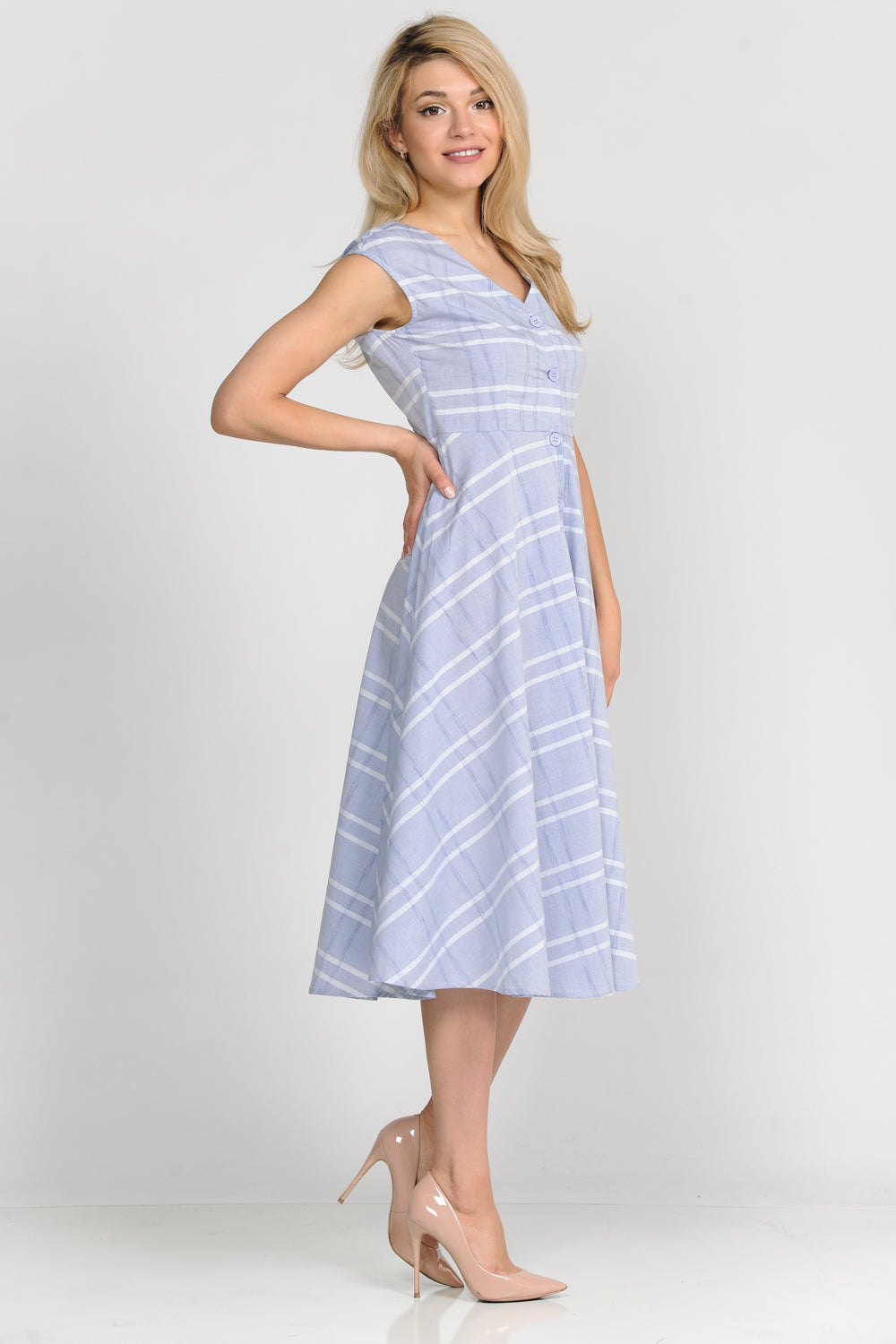 Button Down Stripe Midi Dress