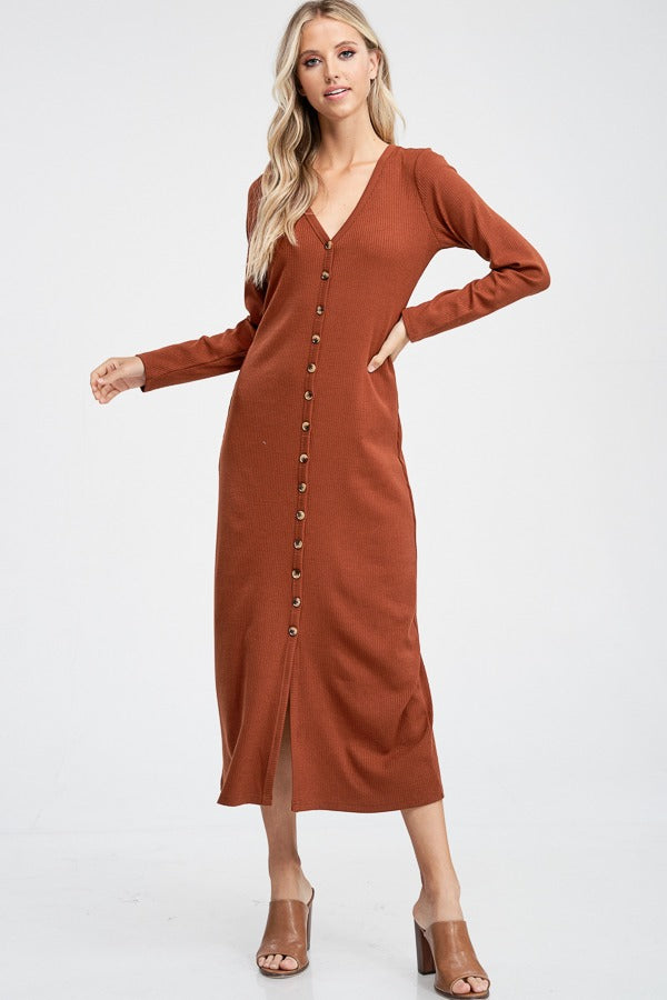 Isabel Ribbed Button Maxi