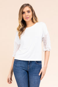 Tufted Polka-dot Puff Sleeve Crew Neck Top