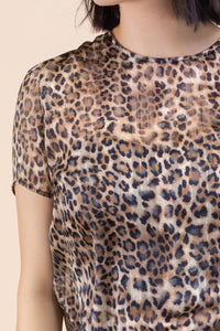 Round Neck Leopard Print Top