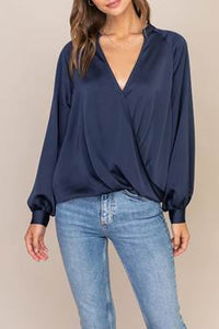 Satin Draped L/S Blouse
