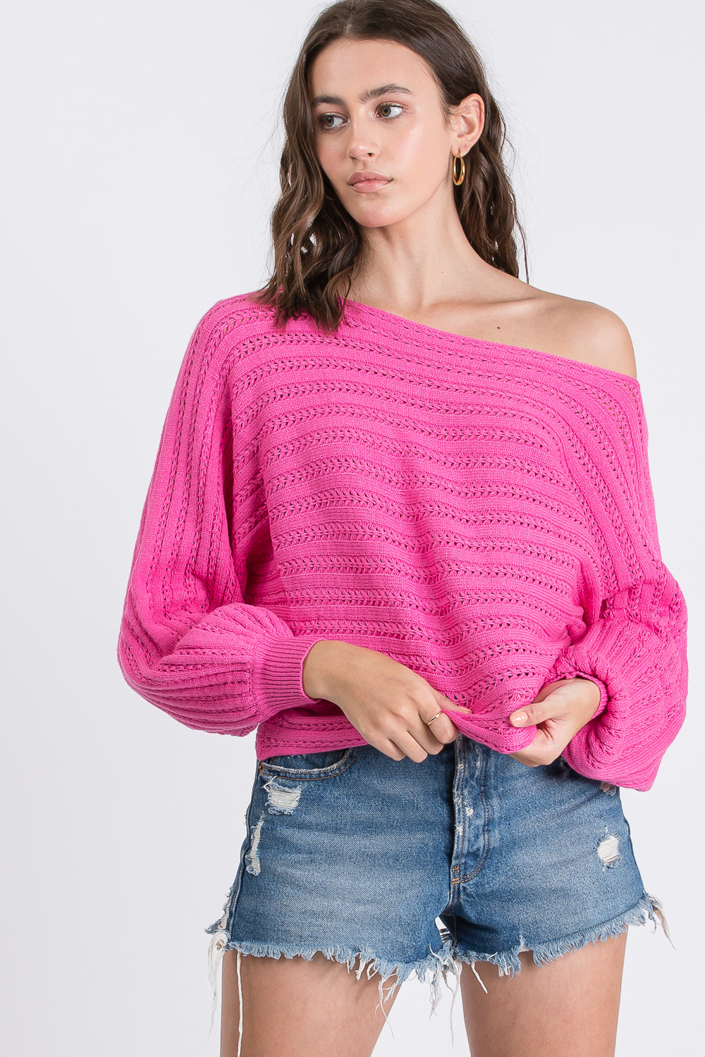Batwing Balloon Sleeve Knit Top $35/each