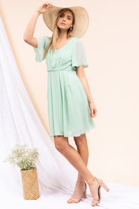 Short Sleeve Draped Dress