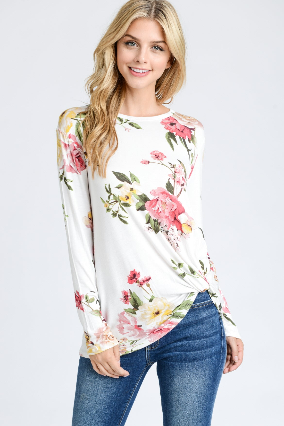 Floral Long Sleeve Twisted Top