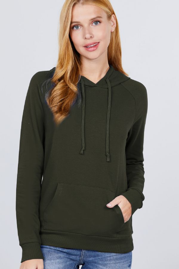 LONG SLEEVE PULLOVER HOODIE WITH KANGAROO POCKET  $18/each