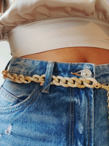 Brindled chained belt - Beige