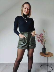 Leatherlook high waist short - Khaki