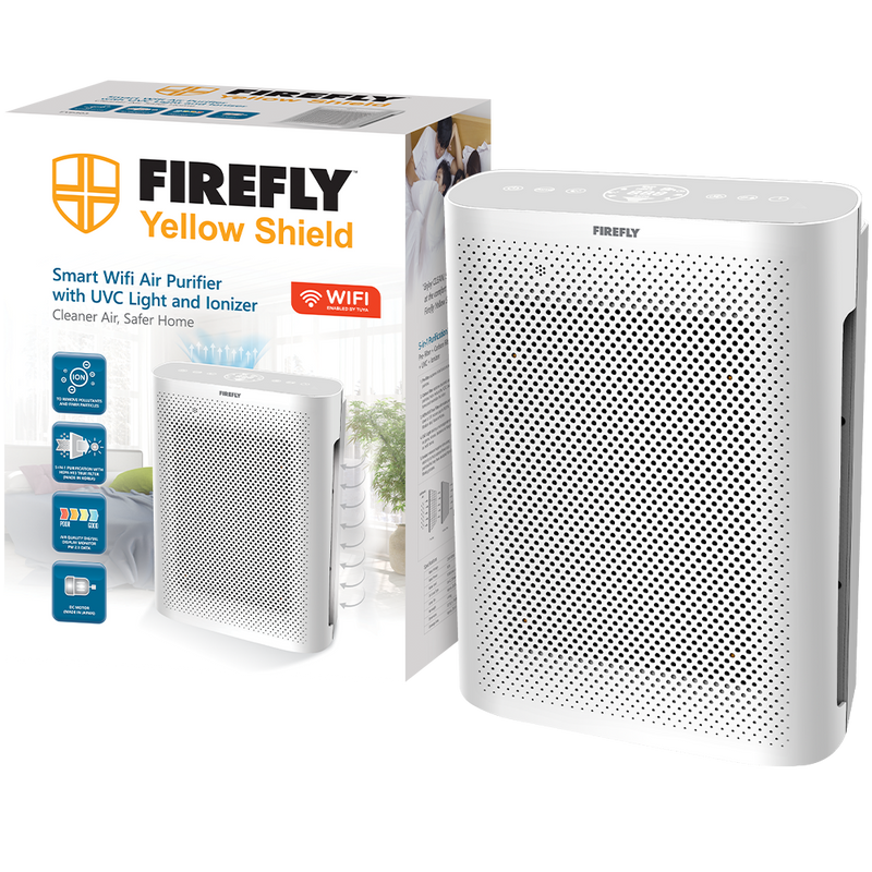 Firefly Yellow Shield Smart Wifi Air Purifier with UVC Light and Ionizer - Medium