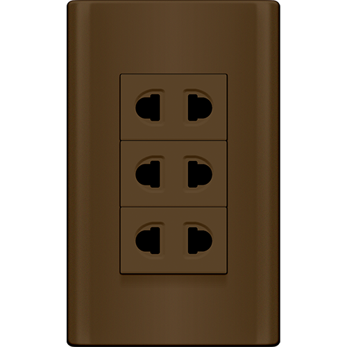 Royu Plano 3 Gang Outlet Set Dark Wood