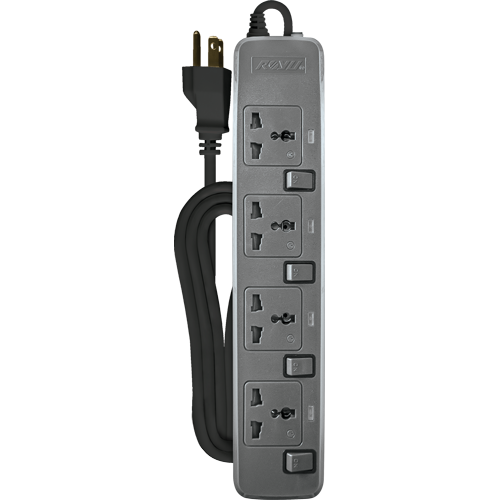 Royu 4 Gang Power Extension Cord with Individual Switches