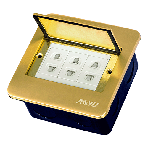 Royu Floor Receptacle with 3 Gang Universal Outlet Bronze