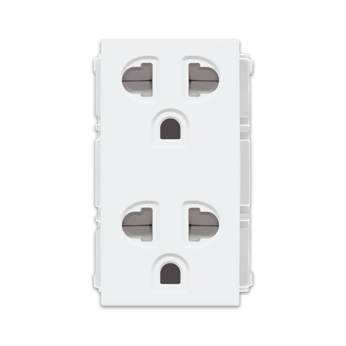 Royu Duplex Universal Outlet with Ground and Shutter Component