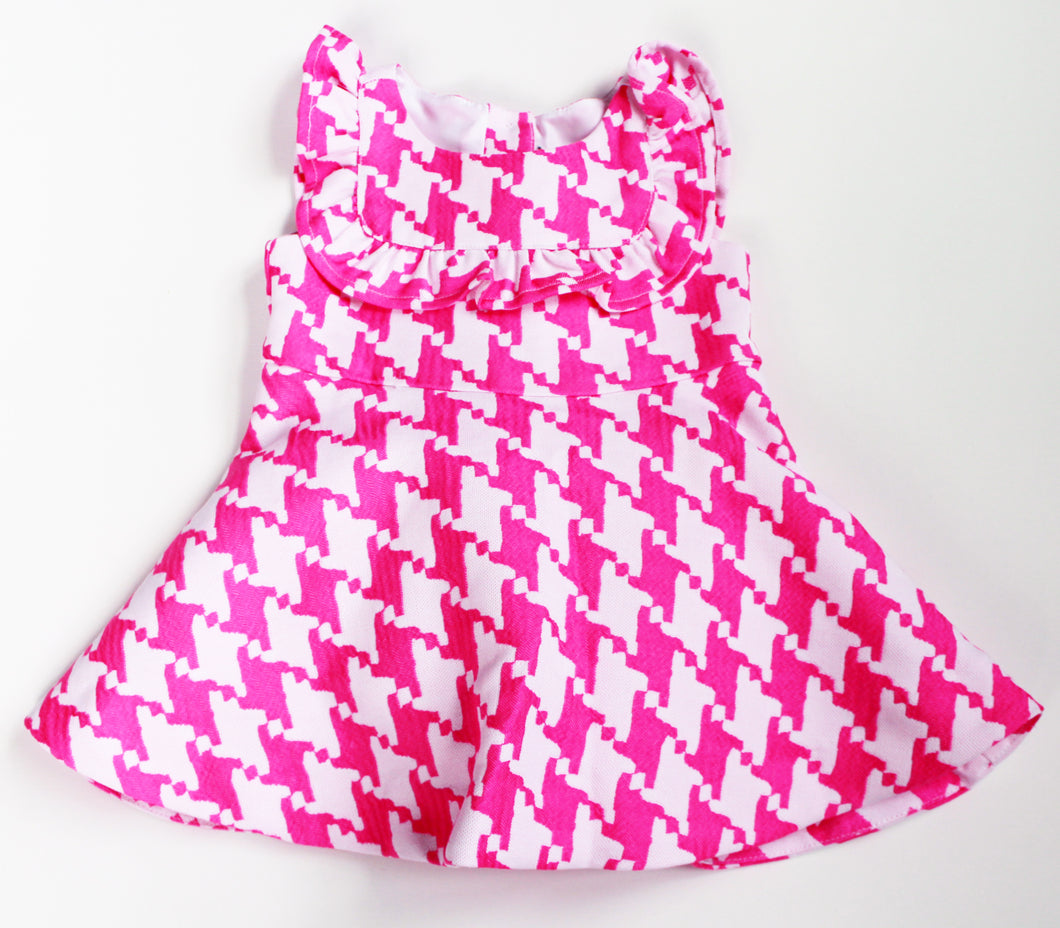 Janie and Jack Pink Houndstooth Dress- Baby Girl (6M-9M)- New with Tags