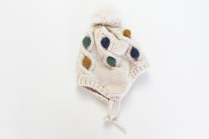 Zara Tie Knit Hat with Pom Pom Detail-Unisex (6M-12M)