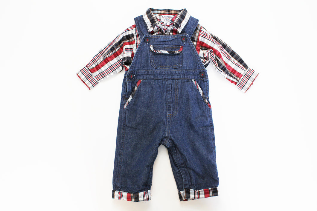 Kite Strings Plaid Shirt with Denim Overalls- Baby Boy (3M-6M)