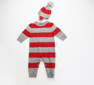 Gap Sweater Striped Onesie with Matching Hat- Unisex (6M-12M)