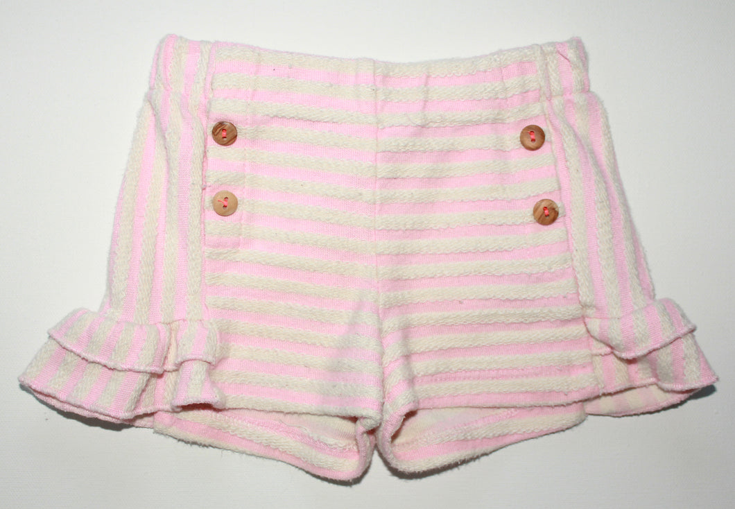 Zara Pull On Striped Ruffle Short- Baby Girl (9M-12M)