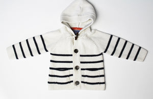 Exclusively You Striped Sweater with Hood- Baby Boy (12M-18M)