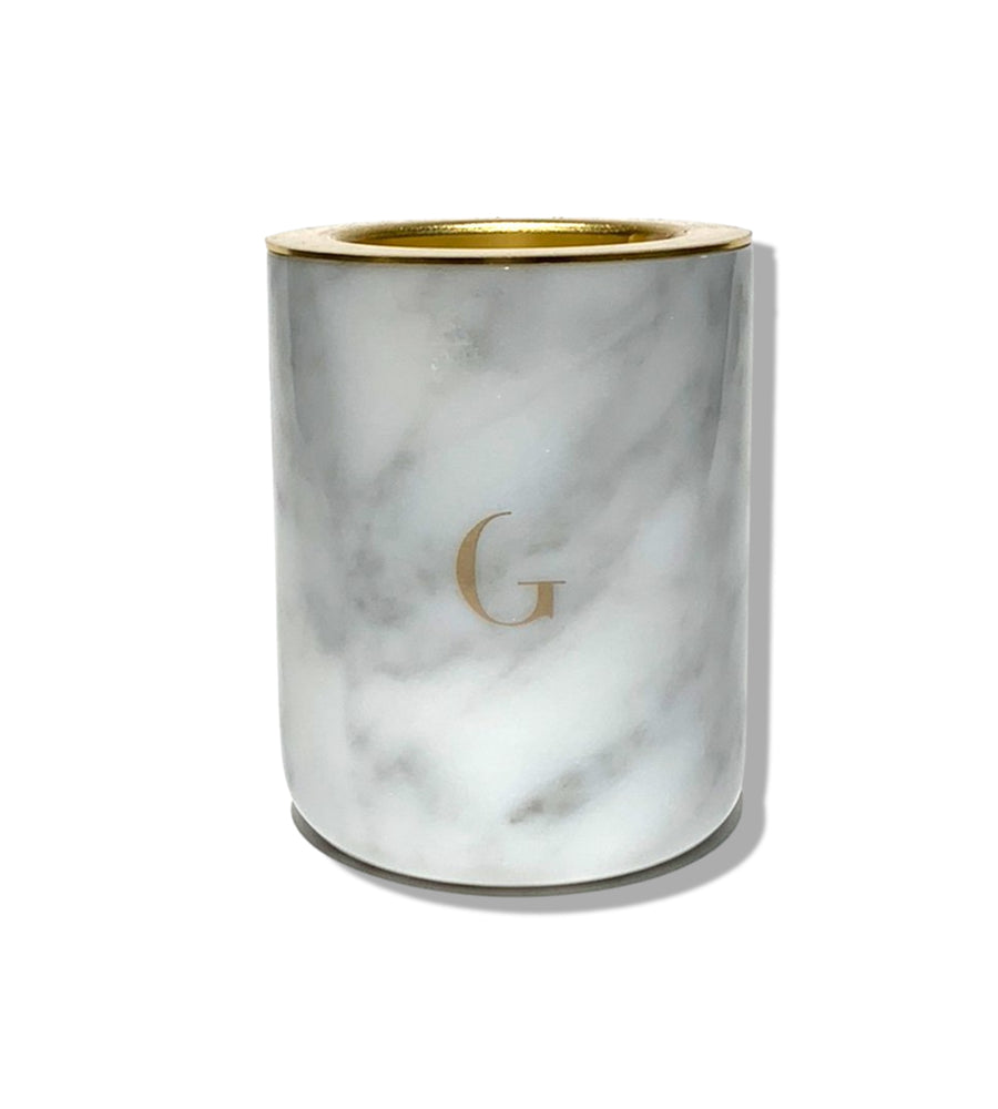 Carrera White Marble Candle