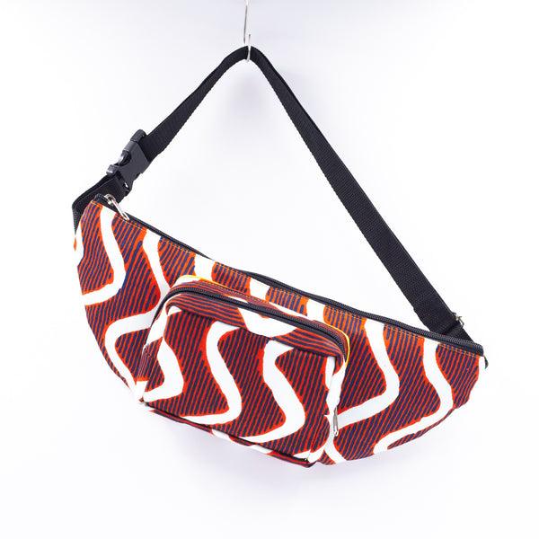 Waist Pouch & sacoche - Wave / Orange & White -